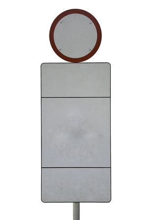 A bright white hazard sign of road on a white background. photo