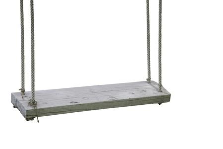 swing: White garden swing hanging isolate on white background Stock Photo