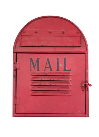 vintage Red Mail Box on the red wall photo