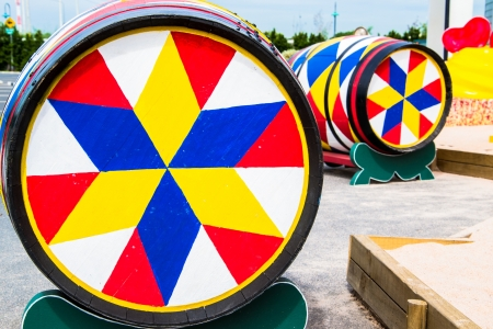 colorful paint oak wine barrel photo
