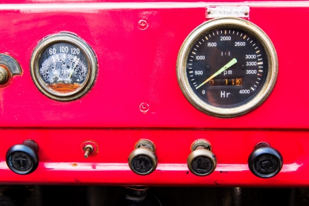 Close up vintage red Fire truck dashboard photo