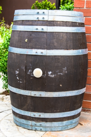 wood barrel with steel ring photo