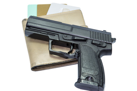 handgun with Wallet and Credit card photo