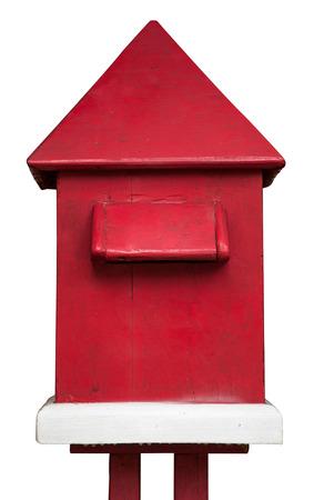 Wood Mail Box isolate on white background photo