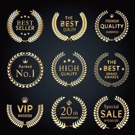 Golden Laurel Label Set Stock Illustratie