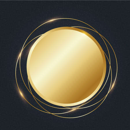 Golden circular frame vector illustration  イラスト・ベクター素材