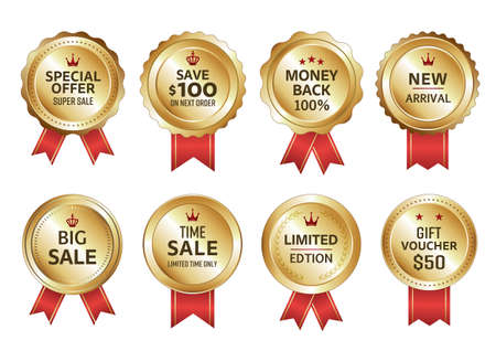 Red and white, gold business rosette type label set