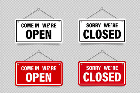 Vector set of signboards to inform opening, closing, OPEN, CLOSED