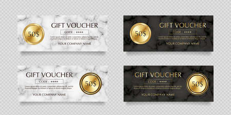 Vector illustration set of gold label gift certificates on white and black marble