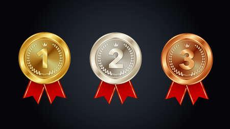 1st 2nd 3rd, Gold Medal Silver Medal Bronze Medal Vector Illustration Set Vecteurs