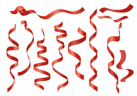 Vector illustration set of red ribbons of various shapes