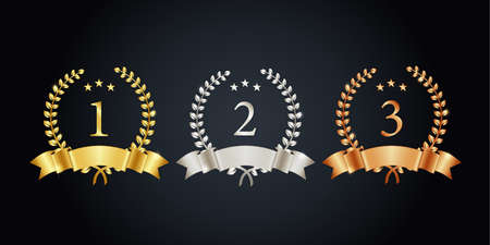 1st 2nd 3rd place, vector illustration set of gold, silver and copper label 矢量图片