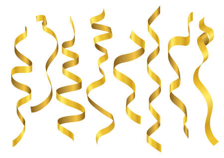 Vector illustration set of gold ribbons in various shapes