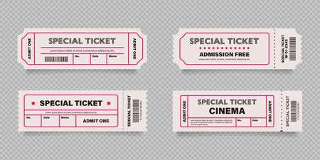 Vector illustration set of free tickets (red) Vector Illustration