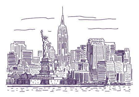 manhattan skyline: New York simple drawing illustration
