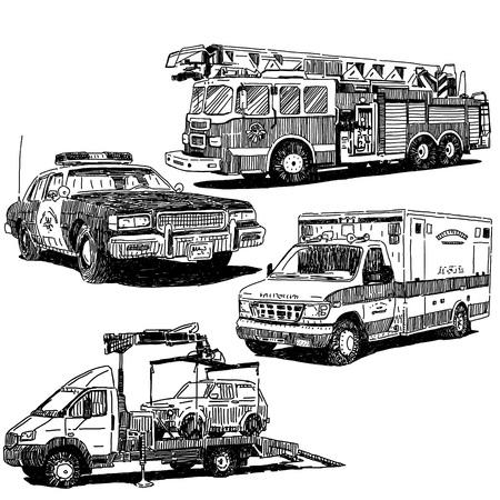 Brandweerwagen, politie auto, ambulance en takelwagen tekeningen ingesteld, schets tekenstijl Stock Illustratie