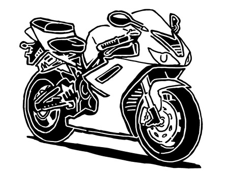 Sport motorcycle  drawing isolated on white background Illustration