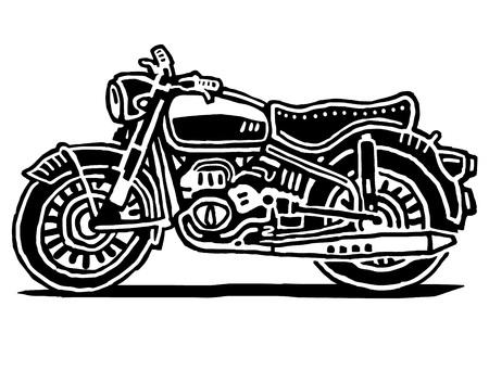 Retro motorcycle drawing isolated on white background 일러스트