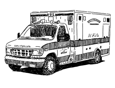 ambulance: Ambulancia dibujo automático Vectores