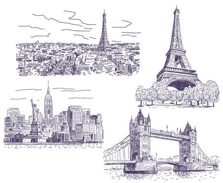 Paris, London and New-York drawings illustrations set 일러스트
