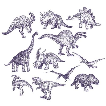 Dinosaurs dessins mis en fait à la main illustrations
