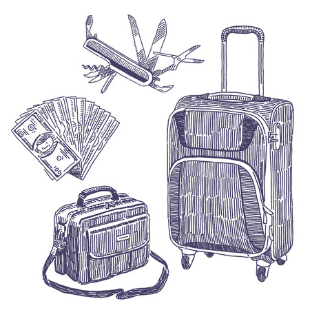 multifunction: drawings set with suitcase, bag, tourist knife and fan of money
