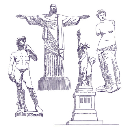 Famous statues drawings, Jesus, David, Venus de Milo, Statue of Liberty