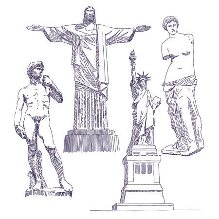 Famous statues drawings, Jesus, David, Venus de Milo, Statue of Liberty