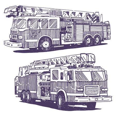firetruck: Firetruck vector drawings set on white background