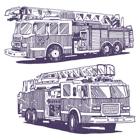Firetruck vector drawings set on white background