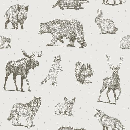 Naadloos patroon met verschillende hand getekende dieren