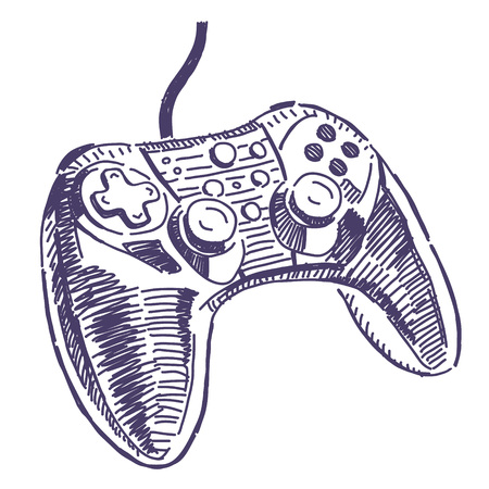 gamepad: Gamepad for video games vector drawing isolated on white background Illustration