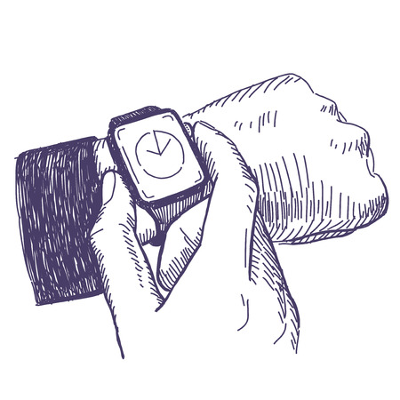 man made: Illustration of businessman looking at the hand watch on white background