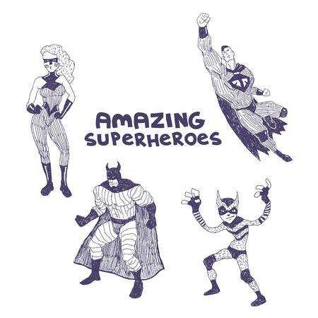 superheros: Superheros sketchy vector drawings set isolated on white background Illustration