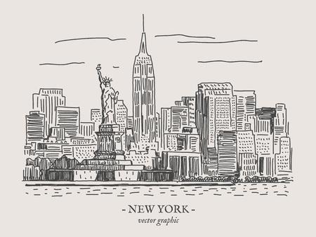 Illustration vectorielle rétro vintage de New York City sur le backgtound gris Banque d'images - 78590516