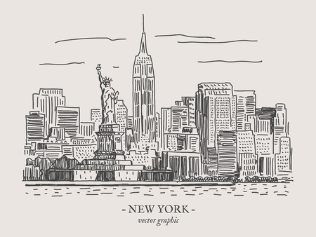 Illustration vectorielle rétro vintage de New York City sur le backgtound gris