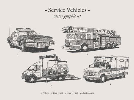 Camion à pompier, voiture de police, ambulance et camion de remorquage de dessins vectoriels Banque d'images - 78523958