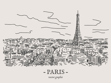 Paris city retro vintage vector drawing on gray backgtound 스톡 콘텐츠