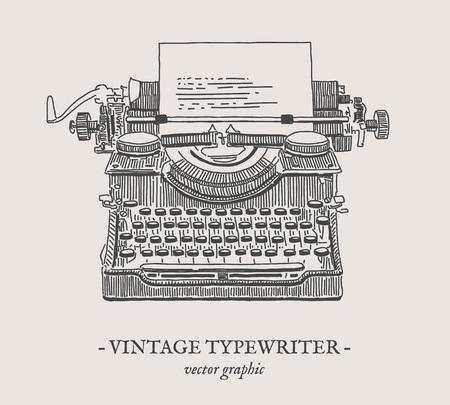 Dessin de dessin de la machine à écrire rétro sur fond gris Banque d'images - 78523954