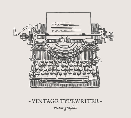 Retro typewriter vector drawing on grey background Banco de Imagens