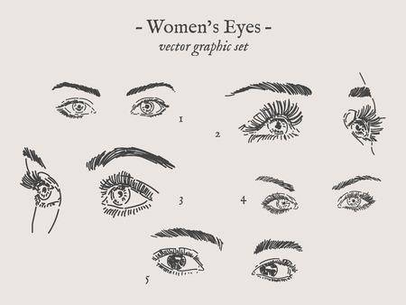 Set of hand drawn women's eyes illustration. 일러스트