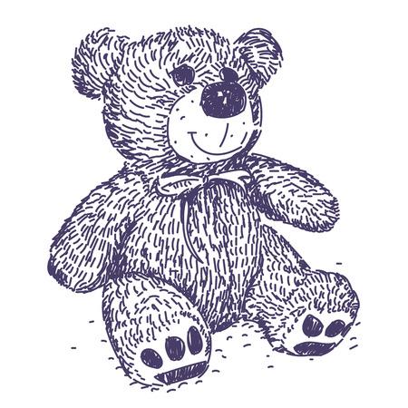 Teddy Bear cute vector realistic hand drawing 일러스트