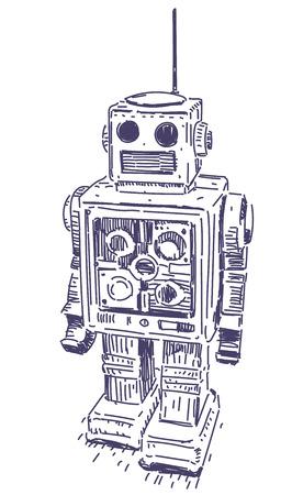 Retro robot vector realistic hand drawing sketch