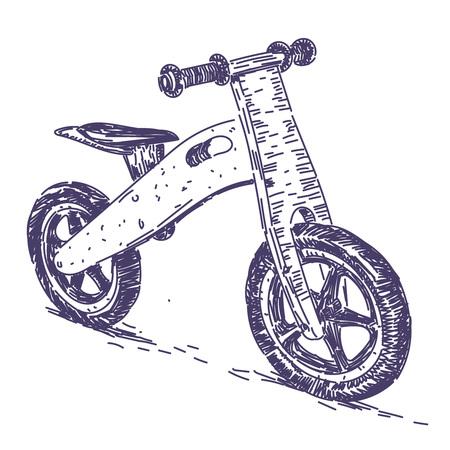 Balance bike hand drawn isolated on light background. 일러스트