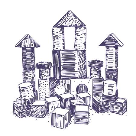 Wooden block building game