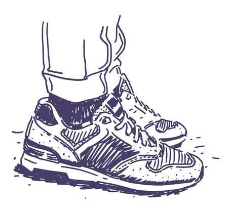 Retro sneakers hand drawn illustration graphic design vector