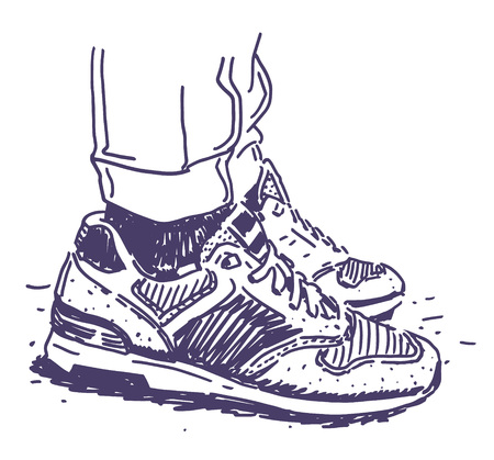 Retro sneakers hand drawn illustration graphic design vector