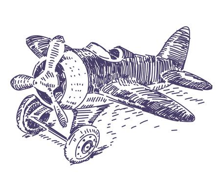 Toy plane vector hand drawn 일러스트