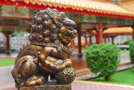 statuary garden: bronze lion