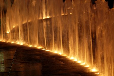 statuary garden: water fountain and lighting at the shopping centre